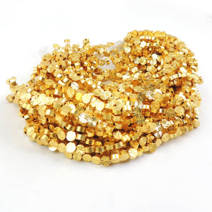 4 Strands AAA Quality  Diamond Cut Round Beads 24k Gold Plated Round beads 4mm  7.5 inch Strand GPC769 - Tucson Beads