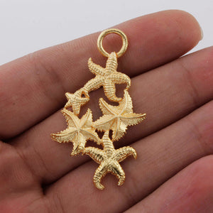 5 Pcs Gold Fancy Charm Pendant - 24k Matte Gold Plated Fancy - Brass Gold Starfish Pendant 46mmx27mm GPC771 - Tucson Beads