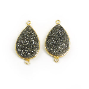 Mystic Mix Druzy Druzzy Drusy Pear Shape 24K Gold Plated Double Bail Connector PC301 - Tucson Beads
