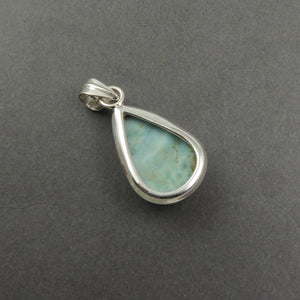 1 Pc Genuine and Rare Larimar Pear Shape Pendant - 925 Sterling Silver - Gemstone Pendant 33mmx19mm SJ306 - Tucson Beads
