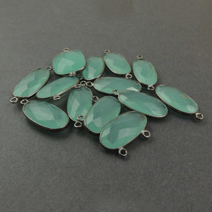 13 Pcs Aqua Chalcedony Oxidized Sterling Silver Faceted Oval Pendant, Connector - SS437 - Tucson Beads