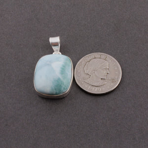Genuine and Rare Larimar Rectangle Shape Pendant - 925 Sterling Silver - Gemstone Pendant SJ355 - Tucson Beads