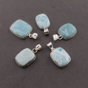 Genuine and Rare Larimar Rectangle Shape Pendant - 925 Sterling Silver - Gemstone Pendant  SJ369 - Tucson Beads