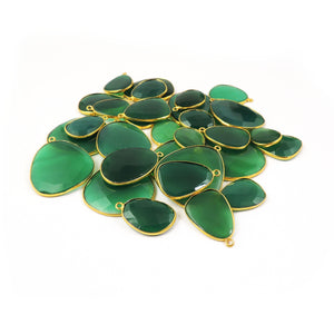 Bulk Lot 31 PCS Green Onyx Assorted Shape 24k Gold Plated Single Bail Pendant - 21mmx14mm-37mmx29mm PC323 - Tucson Beads