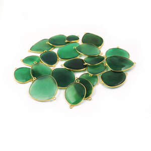 Bulk Lot 21 Pcs Shaded Green Onyx Assorted Shape  24k Gold  Plated Double Bail Connector - 28mmx16mm-45mmx31mm PC329 - Tucson Beads