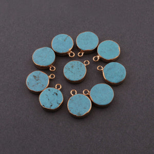 5 Pcs Turquoise Round Pendant Rose Gold Electroplated Single Bail Pendant 17mmx13mm DRZ153 - Tucson Beads