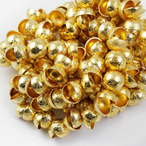 1 Strand 24k Gold Plated Designer Copper Casting Half Cap Round Beads - Jewelry- 12mmx6mm 7.5 Inches GPC205 - Tucson Beads