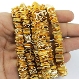 1 Strand 24k Gold Plated Thin Wavy Disc Copper Beads- Square Disc 8mm-9mm Wave Disc Copper Beads - 8 Inches GPC798 - Tucson Beads