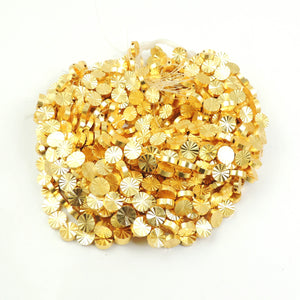 5 Strands AAA Quality Diamond Cut Round Beads 24k Gold Plated Round beads 8mmx8mm  7.5 inch Strand GPC770 - Tucson Beads