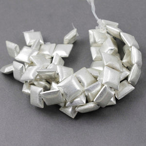 2 Strands Fine Quality Cushion Beads 925 Silver Plated Over Copper - Square Shape Beads 16mm 7.5 Inches  Strand  GPC824 - Tucson Beads