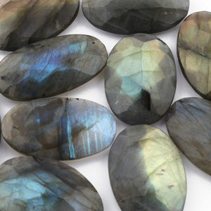 Amazing Labradorite Cabochon,Blue Fire,Blue Flash,Faceted Oval Shape,Loose Gemstone Cabochon,Green,Yellow Flash Fire,Wire Wrap LGs646 - Tucson Beads