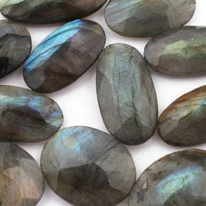 Amazing Labradorite Cabochon,Blue Fire,Blue Flash,Faceted Oval Shape,Loose Gemstone Cabochon,Green,Yellow Flash Fire,Wire Wrap LGs706 - Tucson Beads