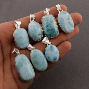 Beautiful Genuine and Rare Larimar Rectangle/Oval  Pendant (You Choose) - 925 Sterling Silver Pendant- Gemstone Pendant  SJ357 - Tucson Beads