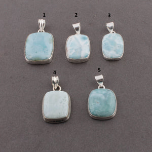 Beautiful Genuine and Rare Larimar Rectangle Pendant (You Choose) - 925 Sterling Silver Pendant- Gemstone Pendant  SJ369 - Tucson Beads