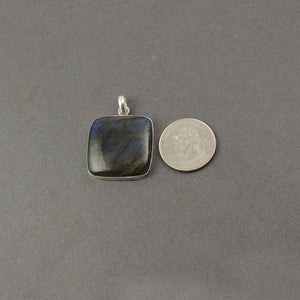 1 Pc Genuine and Rare Labradorite Rectangle Pendant ,925 Sterling Silver Pendant,Gemstone Pendant 34mmx28mm SJ211 - Tucson Beads