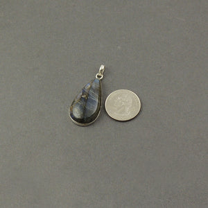1 Pc Genuine and Rare Labradorite Pear Shape Pendant ,925 Sterling Silver - Gemstone Pendant 42mmX20mm SJ363 - Tucson Beads