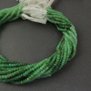 5 Strands Shaded Chrysoprase faceted Rondelles--Finest Quality Chrysoprase  Roundle 4mm 13Inch Long RB119 - Tucson Beads