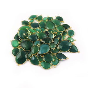 Bulk Lot Wholesale 70 Pcs Green Onyx 24k Gold Plated Pear Shape Double Bail Connector 22mmx11mm-32mmx21mm PC316 - Tucson Beads