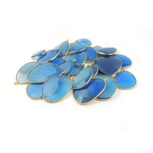 Bulk Lot 26 Pcs Blue Chalcedony 24k Gold Plated Faceted Assorted Shape Single Bail Pendant 27mmx20mm-42mmx30mm PC335 - Tucson Beads