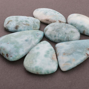 7 Pcs Natural Larimar Smooth Cabochon - Larimar Loose Gemstone , Caribbean Larimar , 32mmx17mm-40mmX27mm LGS072 - Tucson Beads