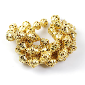 1 Strand 24k Gold Plated Designer Copper Casting Bicone Beads - Jewelry- 20mmx16mm 9 Inches GPC800 - Tucson Beads