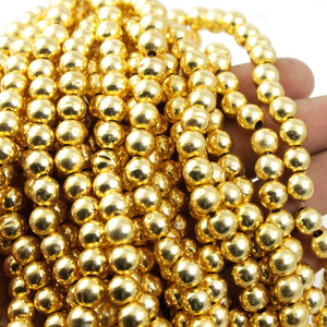 2 Strands AAA Quality Plain Smooth Balls 24K Gold Plated on Copper -  Plain Smooth Balls  7mm 8 Inch  Strand GPC807 - Tucson Beads