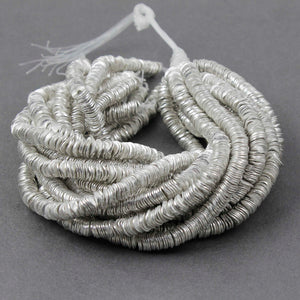 2 Strands Wavy Disc Beads  925 Silver Plated On Copper -Potato Chips Beads  8mm 8 inch Strand GPC817 - Tucson Beads