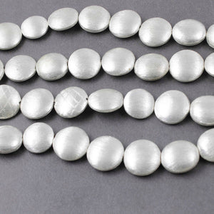 2 Strands Coin Disc Center Drill Beads  925 Silver Plated  On Copper Beads 14mm 8 inches Strand GPC819 - Tucson Beads