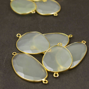 9 Pcs Green Chalcedony 24k Gold Plated Faceted Fancy Shape Double Bail Connector  29mmx20mm-34mmx22mm PC106 - Tucson Beads