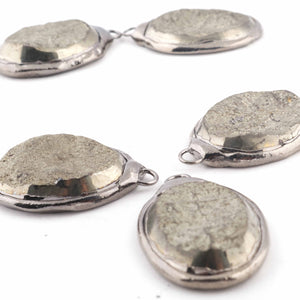 5 PCS One of a kind Rare Natural Pyrite Druzy Drusy Slice Electroforming Black Edge Single Bail Pendant 38mmx27mm-40mmx28mm DRZ207 - Tucson Beads