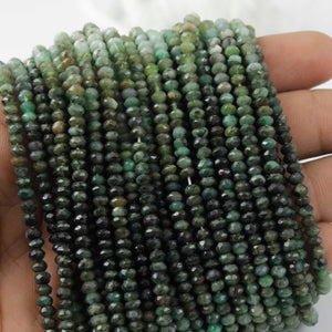 5 Strands Shaded Emerald Faceted Rondelles-- Emerald Roundle Beads3mm -4mm 14 Inch Long RB105 - Tucson Beads