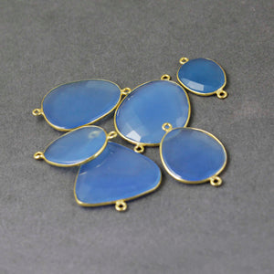 9 Pcs Blue Chalcedony Faceted Fancy Shape 24k Gold Plated Double Bail Connector - Blue Chalcedony 34mmx29mm-43mmx27mm PC383 - Tucson Beads