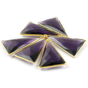 5 Pcs Amethyst Faceted 925 Sterling Vermeil Triangle Shape Pendant - 38mmx23mm SS029 - Tucson Beads