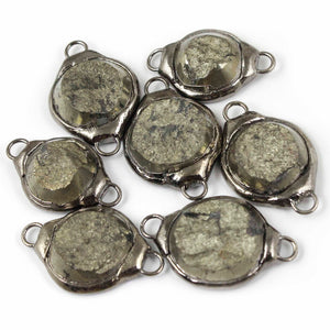 7 PCS One of a kind Rare Natural Pyrite Druzy Drusy Slice Electroforming Black Edge Double Bail Connector 31mmx19mm-34mmx23mm DRZ212 - Tucson Beads