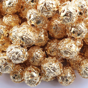 1 Strand 24k Gold Plated Designer Copper Casting Round Beads - Jewelry Making - 13mm-14mm 8 Inches GPC849 - Tucson Beads