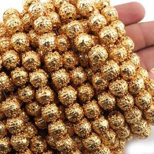 1 Strand 24k Gold Plated Designer Copper Casting Round Beads - Jewelry Making- 11mm 8 Inches GPC852 - Tucson Beads