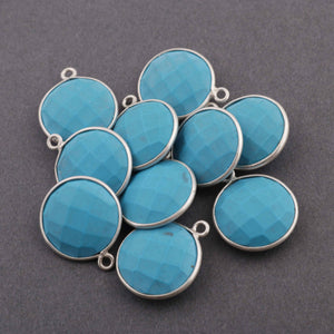 5 Pcs Turquoise Sterling Silver Single Bail Pendant - Turquoise Faceted Pendant 18mmx15mm- SS581 - Tucson Beads