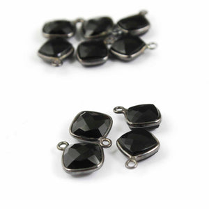 10 Pcs Black Onyx Faceted Cushion Oxidized Sterling Silver Pendant -Onyx Sterling Silver Pendnt 14mmx10mm-15mmx12mm SS-640 - Tucson Beads