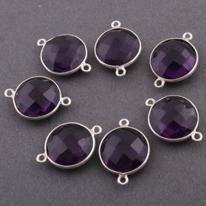 4 Pcs  Amethyst Faceted Round 925 Sterling silver Double bail connector --Amethyst Faceted connector 21mmx15mm  SS650 - Tucson Beads
