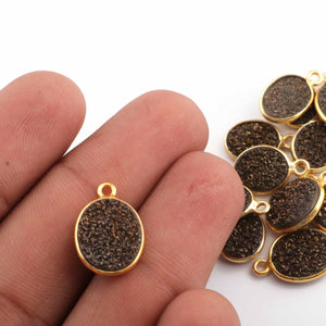 9 Pcs Mystic Black Druzy Druzzy Drusy Bezel 925 sterling Vermeil Oval Shape Single Bail Pendant - 14mmx10mm-16mmx10mm SS670 - Tucson Beads