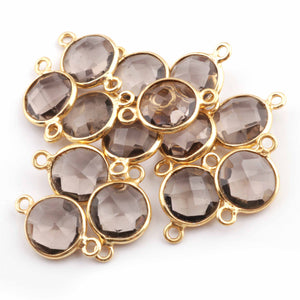 7 Pcs Smoky Quartz 925 Sterling Vermeil/ Oxidized Sterling Silver Connector, Smoky Quartz Round Connector , 17mmx11mm SS688 - Tucson Beads