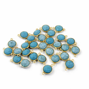 10 Pcs Turquoise 925 Sterling Vermeil Faceted Round Double Bail Cnnector -  17mmx11mm SS730 - Tucson Beads