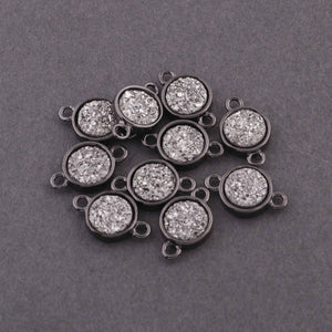 10 Pcs Mystic Titanium Druzy Round Connector, Oxidized Silver Plated Bezel Round Connector 12mmX7mm PC339 - Tucson Beads
