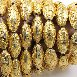 1 Strand 24k Gold Plated Designer Copper Casting Melon Beads - 14mmx29mm Melon Beads - Jewelry - 9 Inches Gpc917 - Tucson Beads