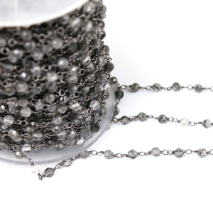 1 feet Black Rutile 3mm-3.5mm Rosary Style Chain - Tourmalited Quartz Beads Oxidized Sterling Silver Wrapped Beaded Chain SRC085 - Tucson Beads