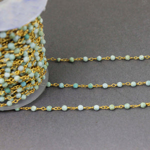 1 Feet Natural Turquoise 3mm-3.5mm 925 Sterling Vermeil Rosary Style Beaded Chain - Beads wire wrapped chain SRC-087 - Tucson Beads