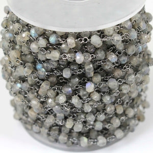 1 feet Labradorite Faceted 3-4mm Beads Rosary Style Beaded Chain - Labradorite Beads Wire Wrapped Oxidized Silver Chain SRC093 - Tucson Beads