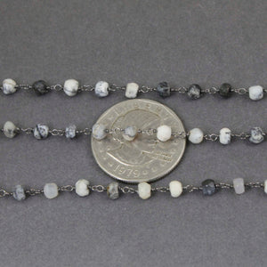 1 Feet Dendrite Opal Rosary Style Beaded Chain 3mm-4mm, Black Wire Wrapped Chain- Dendrite Opal Rosary Chain SRC101 - Tucson Beads