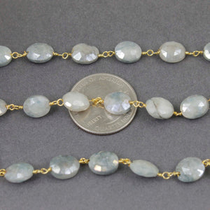 1 Feet Grey Silverite 9mmx7mm Oval Beaded Chain - Ovel Beads 925 Sterling Vermeil Wire Wrapped  Rosary Chain  SRC111 - Tucson Beads