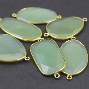 6 Pcs Green Chalcedony 24k Gold Plated Faceted Fancy Shape Double Bail Connector  37mmx19mm-37mmx26mm PC159 - Tucson Beads